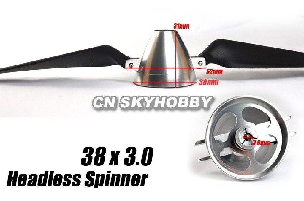 Spinner 38 3,0 offen Alu silber eloxiert