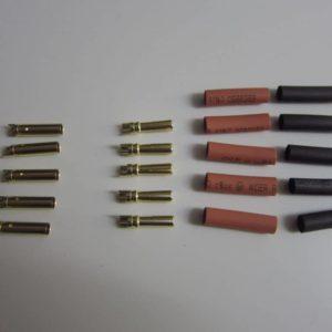 Goldkontakte 4mm Stecker + Buchse + Schrumpfschlauch rot/schwarz
