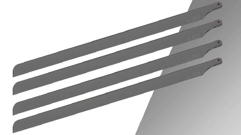 Scale 4 Blattsatz für 500er Helis SpinBlade 435mm Mattgrau